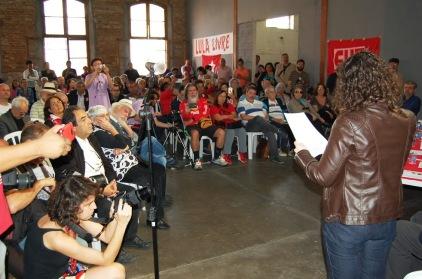 Ana Paula Tauhyl, em seu discurso. FOTO: Paulinho Cavalcanti